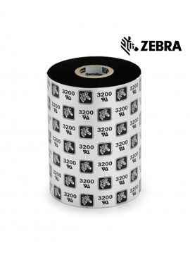 "Zebra 2000 Standard Wax - 4.33"" x 1476' Black Wax Ribbon"